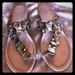 Vince Camuto sandals in pewter and crystals. Size7